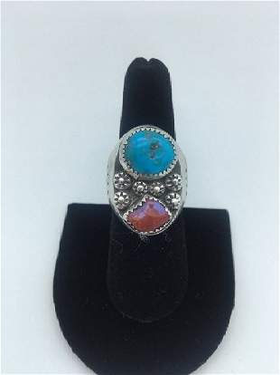 Navajo Sterling Turquoise Red Coral Ring