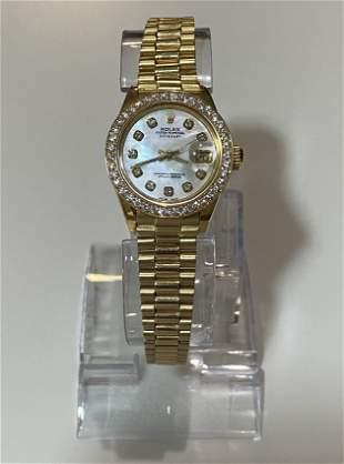 14k Rolex Ladies President Oyster Diamond Bezel