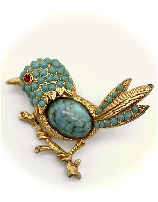 1960 Vintage 24k Gold w/ Turquoise/Ruby Bird Brooch Pin
