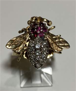 Women's 14K Yellow Gold Bee Diamond Ring with Gemstones