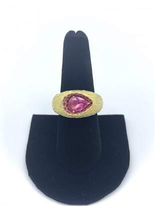 Yellow Diamond and 18k Yellow Gold Mesh Ring