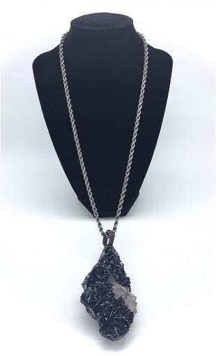 Specularite Pendant silver chain w 14k Gold Lion