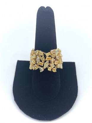 Diamond and Gold Chain Ring