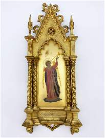 Signed Gilt Wood Religious Icon of St. Trumpeteer