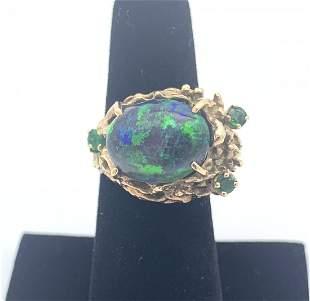 Australian Fire Opal 14k Gold Nugget Ring Genuine