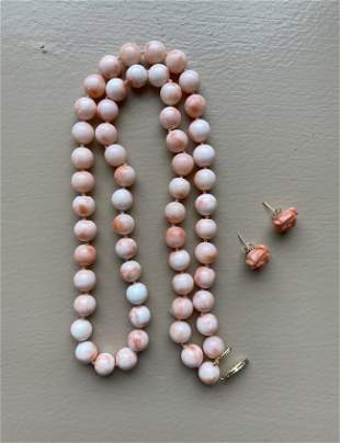 Ladies Angel Skin Coral Necklace & Matching Earrings