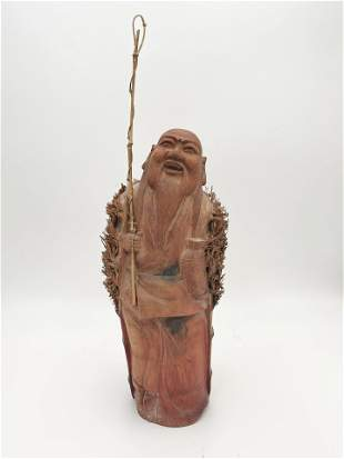 Asian Long Bearded Man Carved from Bamboo