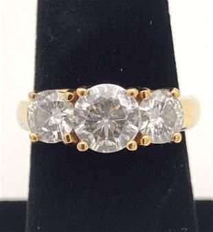 14kt Gold Ring w/ 3 Diamonds
