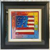 """""""Flag with Heart"""" by Peter Max Signed Serigraph"""