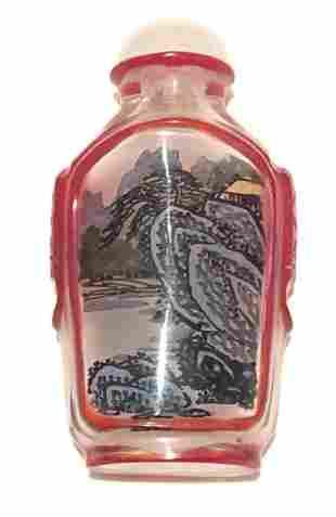 Chinese Peking Glass Inside-Painted Overlay Snuff Bottl