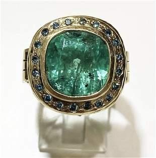 18K Yellow Gold Columbian Emerald & Blue Diamonds.