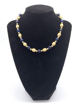 14k Yellow Gold/Lapis Lazuli Beaded Necklace
