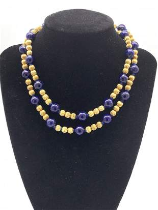 14kt Gold/Lapis Lazuli Multi Beaded Necklace