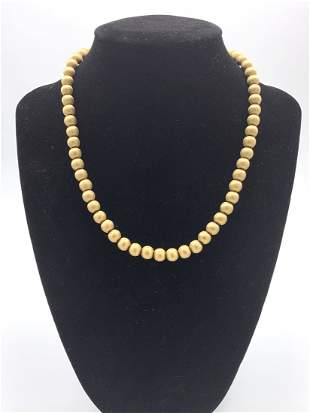 Gold 14kt Stamped Beaded Necklace