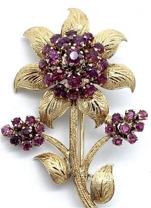 18k Gold Pink Tourmaline Vintage Rare Pin