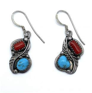 Turquoise Sterling Silver Red Coral Earrings