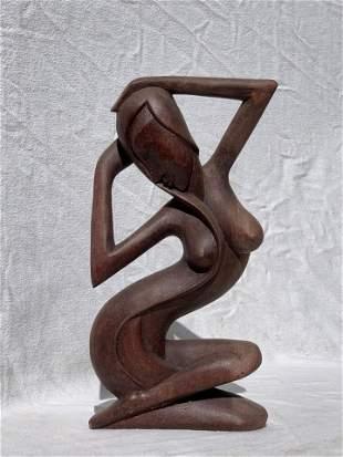 Balinese Teak Wood Women Statue Pair