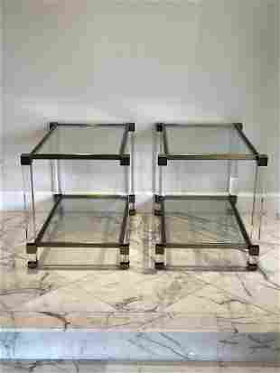 Pair of Hollywood Regency Style Glass Side Tables