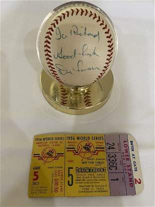 """Don Larsen """"Good Luck"""" Signed w/ Ticket to Match"""