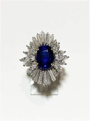 Women's Platinum Blue Sapphire Diamond Ring