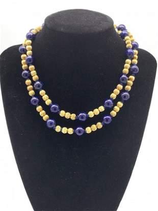kt Gold/Lapis Lazuli Multi Beaded Necklace