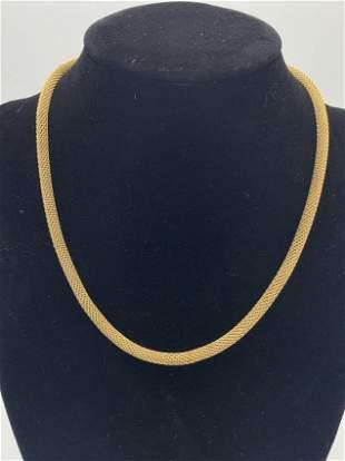 Gold 14kt Stamped Woven Design Necklace