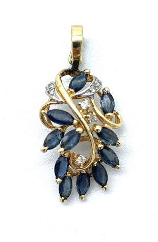 Diamond, Sapphire, Gold 14k Stamped