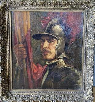 Antique Oil Painting of Spanish Soldier - Ernest Crofts