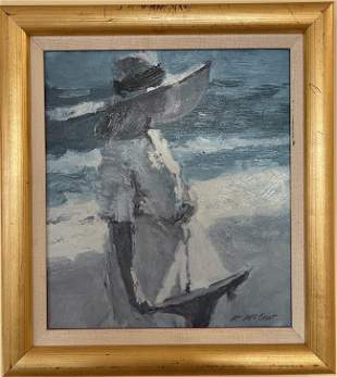 D. McCaw Original Oil on Canvas Girl with Hat on Beach