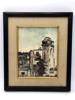 Signed Watercolor - European Street Scene