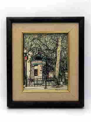 Signed Watercolor - Paris Street Scene