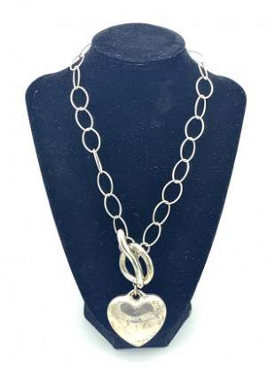 925 Sterling Heart Shaped Pendant and Necklace