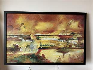Vintage Abstract Landscape Painting