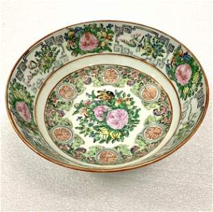 Famille Rose Large Hand Painted Vintage Bowl