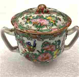 Famille Rose Lidded Sugar Bowl / Creamer Set