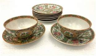 Famille Rose Tea Cup / Saucer Hand Painted Set