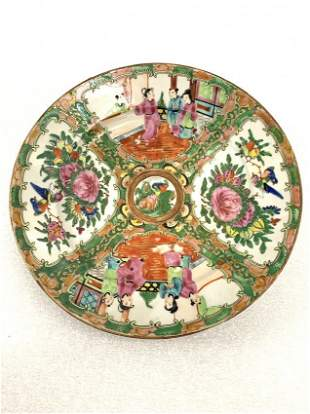Famille Rose Vintage Hand Painted Plates Set