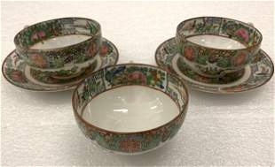 Famille Rose Vintage Saucers and Tea Cups