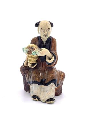 Hand Painted Ceramic Statue of Man Holding Basket