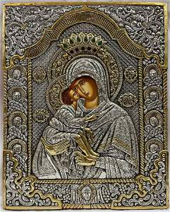 Oklad: Virgin & Child Silvered Metal with Gold Tones