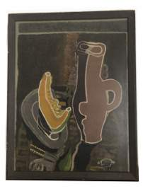 "Expressionist Original Oil on Board Signed ""Braque 4/4"""