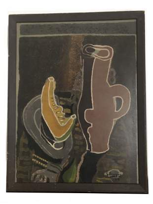 "Expressionist Original Oil on Board Signed ""Braque 4/4"""