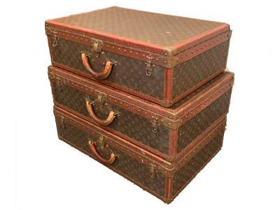 Set of 3 Vintage Louis Vuitton Hard Sided Suitcases