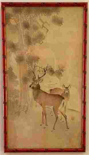 Ohara Koson (1877 - 1945) Two Deer, Pine and Moon
