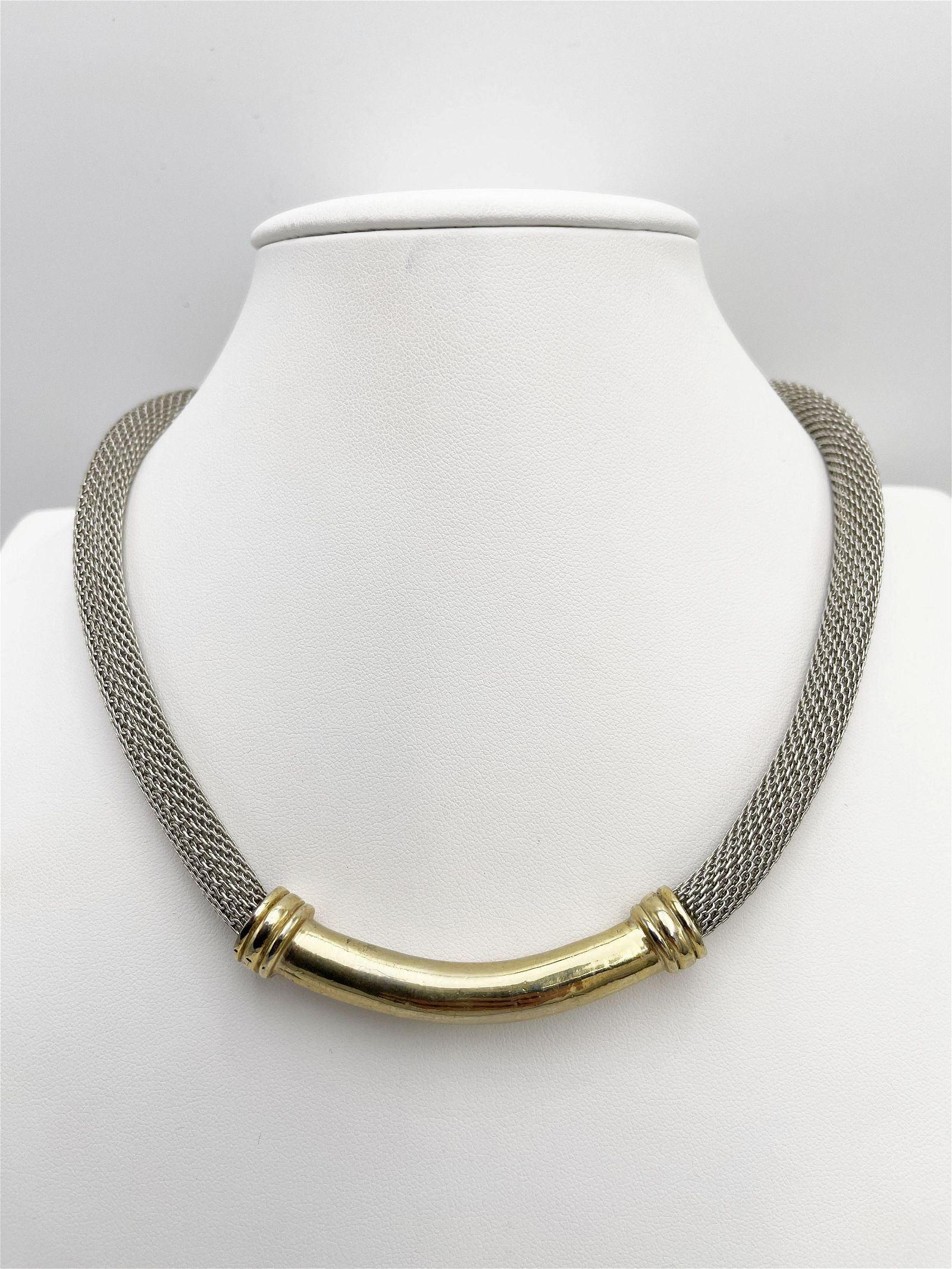 David Yurman-style Gold and Silver Tone Necklace with