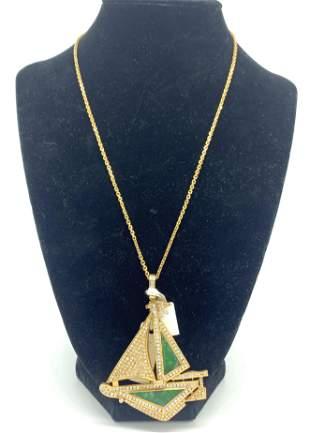 18kt Yellow Gold Diamond/Jade Boat Pendant Necklace