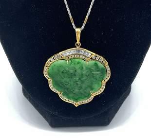 18kt Yellow White Gold Jade and Diamond Pendant