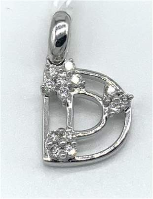 "18kt White Gold and Diamond ""D†Pendant"