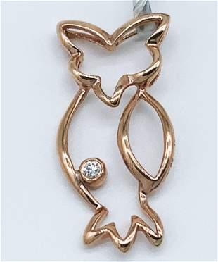18kt Yellow Gold and Diamond Owl Pendant