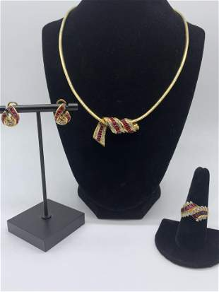 18kt Gold Diamond Sapphire Signed Mayors 5pc Set